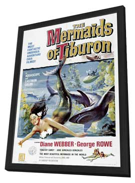 Mermaids of Tiburon - 11 x 17 Movie Poster - Style A - in Deluxe Wood Frame