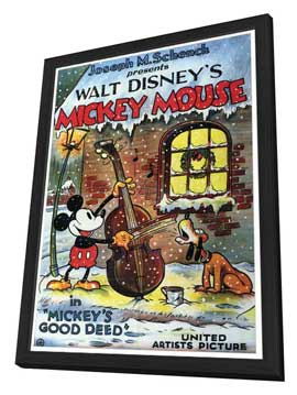 Mickey's Good Deed - 27 x 40 Movie Poster - Style A - in Deluxe Wood Frame