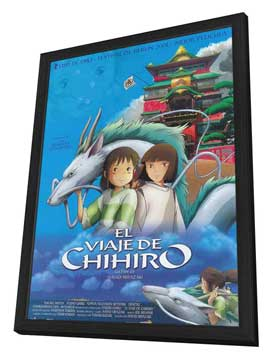 Miyazaki's Spirited Away - 11 x 17 Movie Poster - Spanish Style A - in Deluxe Wood Frame