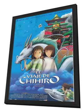 Miyazaki's Spirited Away - 27 x 40 Movie Poster - Spanish Style A - in Deluxe Wood Frame