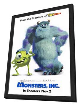 Monsters, Inc. - 27 x 40 Movie Poster - Style A - in Deluxe Wood Frame