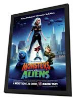 Monsters vs. Aliens - 27 x 40 Movie Poster - Style C - in Deluxe Wood Frame