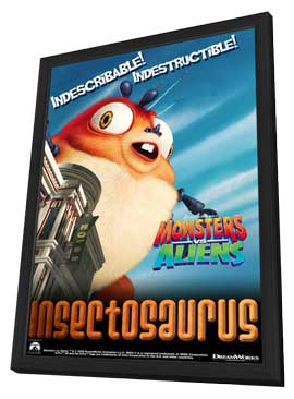 Monsters vs. Aliens - 11 x 17 Movie Poster - UK Style E - in Deluxe Wood Frame