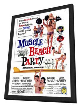 Muscle Beach Party - 27 x 40 Movie Poster - Style A - in Deluxe Wood Frame