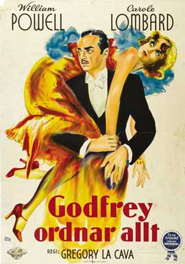 My Man Godfrey - 27 x 40 Movie Poster - Swedish Style A