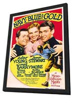 Navy Blue and Gold - 11 x 17 Movie Poster - Style A - in Deluxe Wood Frame
