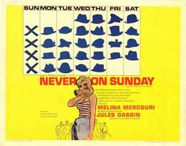 Never on Sunday - 22 x 28 Movie Poster - Half Sheet Style A