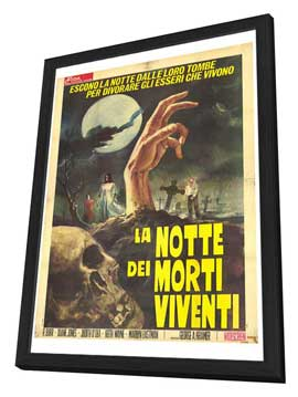 Night of the Living Dead - 27 x 40 Movie Poster - Italian Style A - in Deluxe Wood Frame
