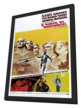 North by Northwest - 27 x 40 Movie Poster - Style D - in Deluxe Wood Frame