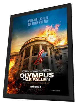 Olympus Has Fallen - 11 x 17 Movie Poster - Style B - in Deluxe Wood Frame