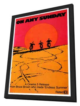 On Any Sunday - 27 x 40 Movie Poster - Style B - in Deluxe Wood Frame