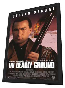 On Deadly Ground - 11 x 17 Movie Poster - Style A - in Deluxe Wood Frame
