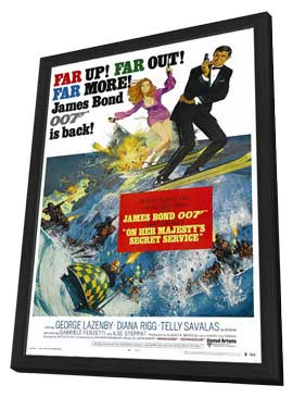 On Her Majesty's Secret Service - 27 x 40 Movie Poster - Style B - in Deluxe Wood Frame