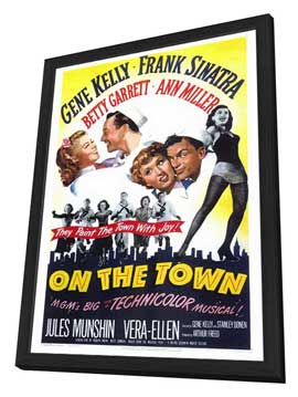 On the Town - 27 x 40 Movie Poster - Style A - in Deluxe Wood Frame