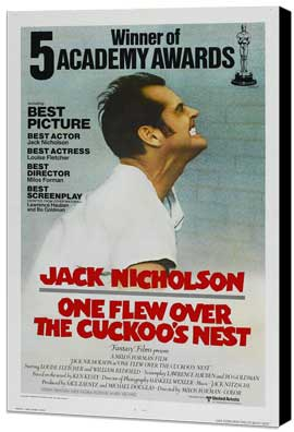 One Flew Over the Cuckoo's Nest - 27 x 40 Movie Poster - Style F - Museum Wrapped Canvas