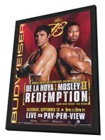 Oscar De La Hoya vs Shane Mosley - 11 x 17 Boxing Promo Poster - Style A - in Deluxe Wood Frame