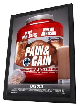 Pain and Gain - 27 x 40 Movie Poster - Style B - in Deluxe Wood Frame