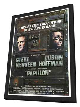 Papillon - 27 x 40 Movie Poster - Style B - in Deluxe Wood Frame