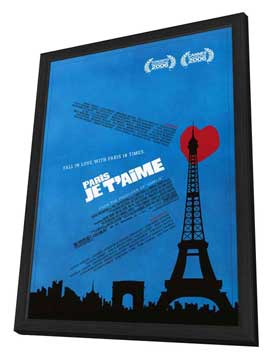 Paris Je T'aime - 11 x 17 Movie Poster - Style B - in Deluxe Wood Frame