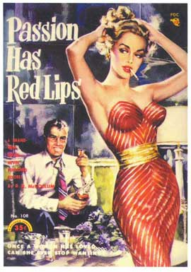 Passion Has Red Lips - 11 x 17 Retro Book Cover Poster