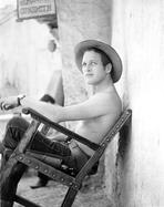 Paul Newman - Paul Newman Siting on Chair With Hat Black and White