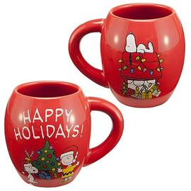 Peanuts - Happy Holidays Red Oval Mug