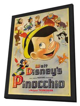 Pinocchio - 27 x 40 Movie Poster - Style F - in Deluxe Wood Frame