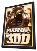 Piranha 3DD - 11 x 17 Movie Poster - Style D - in Deluxe Wood Frame