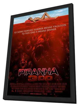Piranha 3DD - 11 x 17 Movie Poster - Style C - in Deluxe Wood Frame