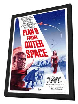 Plan 9 from Outer Space - 27 x 40 Movie Poster - Style A - in Deluxe Wood Frame