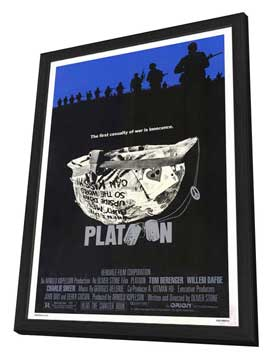 Platoon - 11 x 17 Movie Poster - Style A - in Deluxe Wood Frame