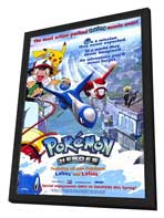 Pokemon Heroes - 27 x 40 Movie Poster - Style A - in Deluxe Wood Frame