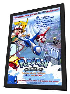Pokemon Heroes - 11 x 17 Movie Poster - Style A - in Deluxe Wood Frame