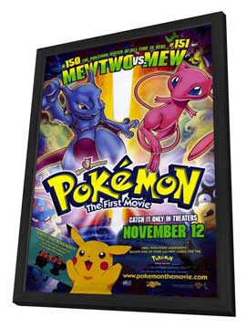 Pokemon: The First Movie - 11 x 17 Movie Poster - Style B - in Deluxe Wood Frame