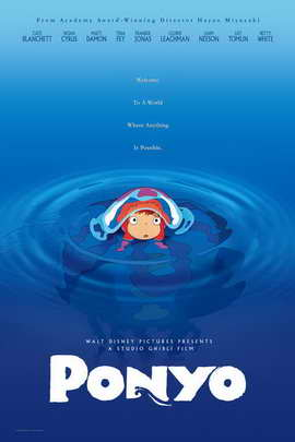 Ponyo on the Cliff by the Sea - 11 x 17 Movie Poster - Style A