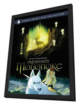 Princess Mononoke - 27 x 40 Movie Poster - German Style A - in Deluxe Wood Frame