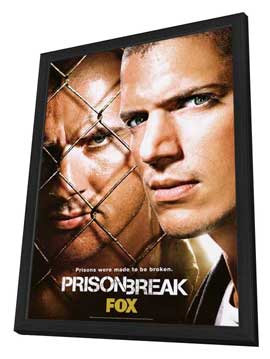 Prison Break (TV) - 27 x 40 TV Poster - Style E - in Deluxe Wood Frame