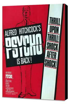 Psycho - 11 x 17 Movie Poster - Style B - Museum Wrapped Canvas