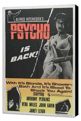 Psycho - 11 x 17 Movie Poster - Style J - Museum Wrapped Canvas
