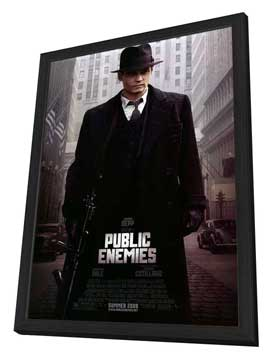 Public Enemies - 27 x 40 Movie Poster - Style A - in Deluxe Wood Frame