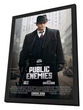 Public Enemies - 27 x 40 Movie Poster - Style E - in Deluxe Wood Frame