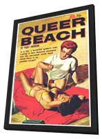Queer Beach - 11 x 17 Retro Book Cover Poster - in Deluxe Wood Frame