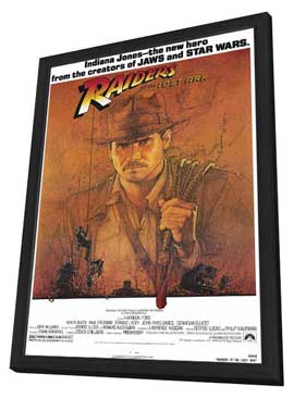 Raiders of the Lost Ark - 27 x 40 Movie Poster - Style A - in Deluxe Wood Frame