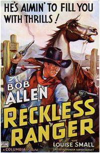Reckless Ranger - 43 x 62 Movie Poster - Bus Shelter Style A