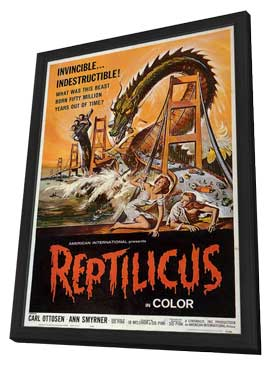 Reptilicus - 11 x 17 Movie Poster - Style C - in Deluxe Wood Frame