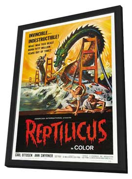 Reptilicus - 27 x 40 Movie Poster - Style B - in Deluxe Wood Frame