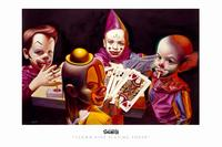 Ron English - 11 x 17 - Clown Kids Playing Poker