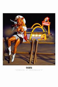 Ron English - 24 x 36 - Cowgirl at McDonald's