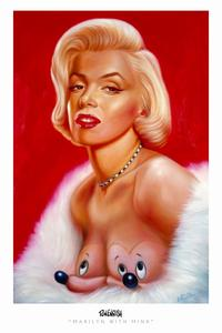 Ron English - 24 x 36 - Marilyn with Mink