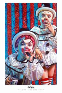 Ron English - 24 x 36 - Clown Kids Smoking